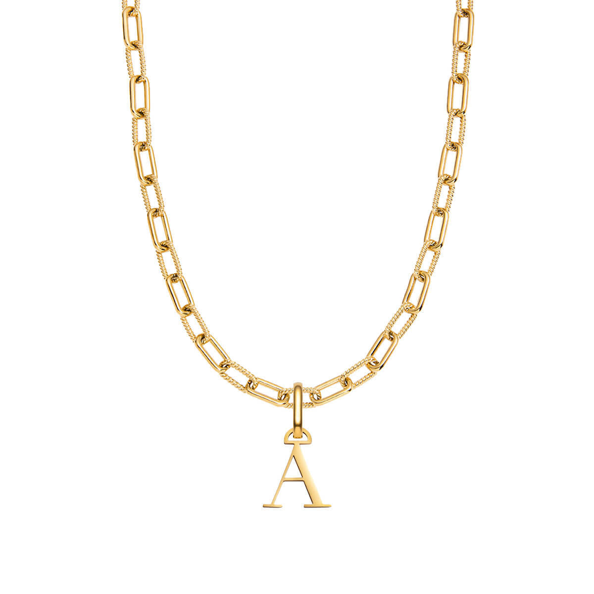Letter Square Link Chain Necklace (Gold)
