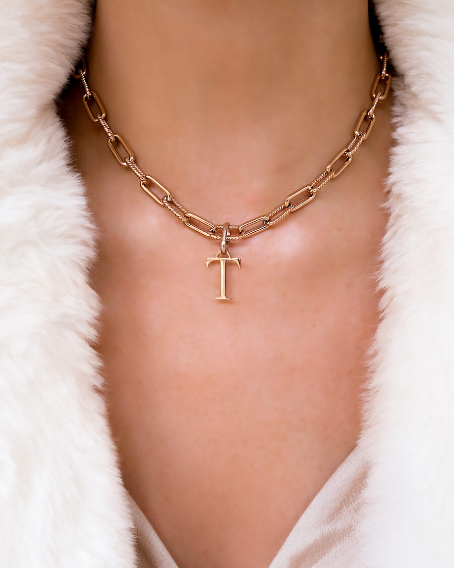 Letter Square Link Chain Necklace (Rose Gold)
