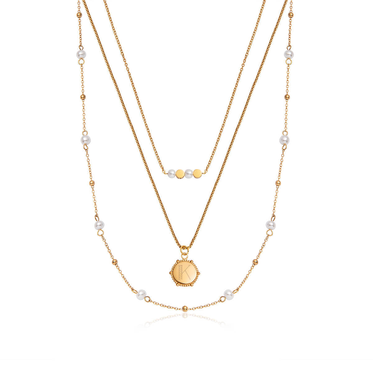 Pearl Little Luxe Necklace Set (Gold)