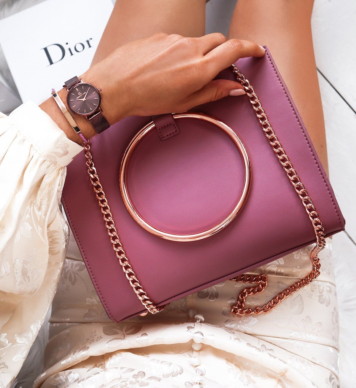 Mauve Pink Moda Handbag Rose Gold