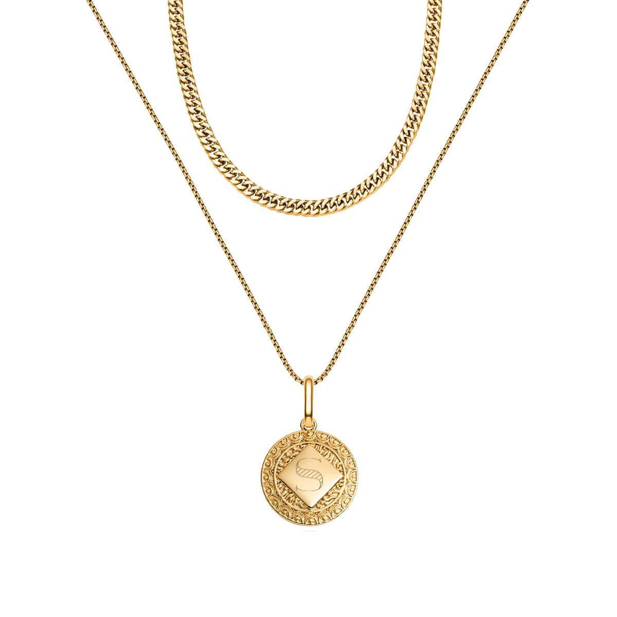 Maya Pendant Curb Chain Layered Set (Gold)
