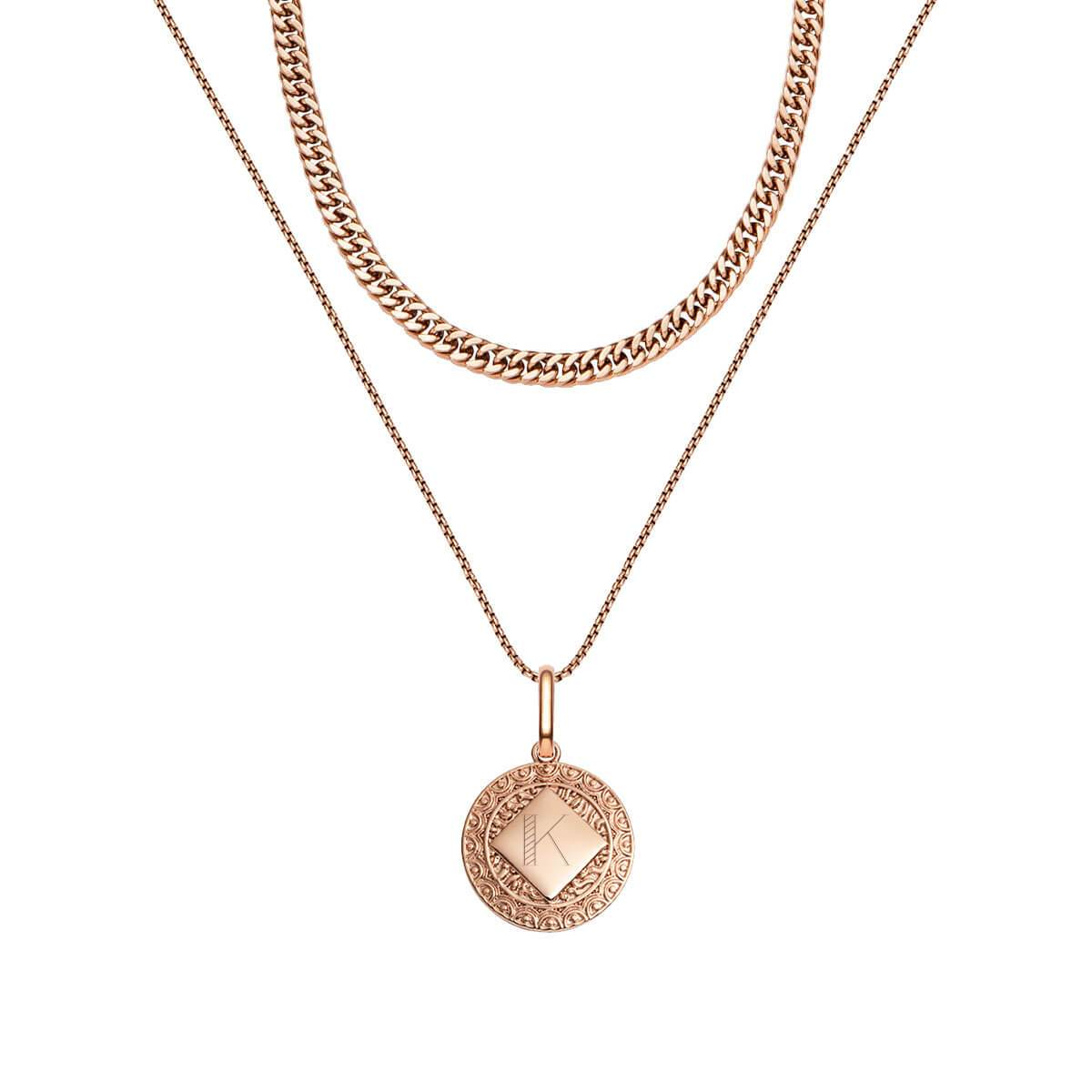 Maya Pendant Curb Chain Love Gift Set (Rose Gold)