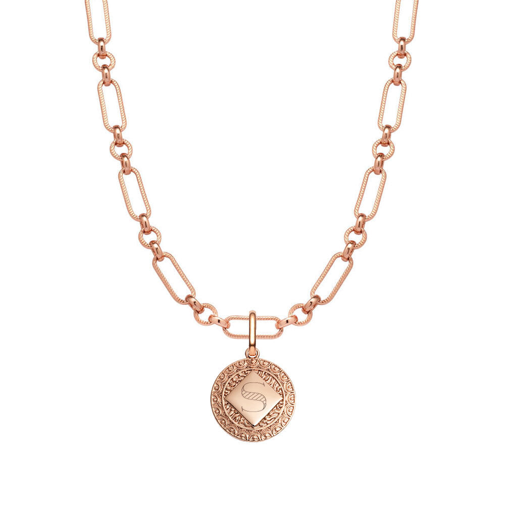 Maya Coin Figaro Chain Necklace (Rose Gold)