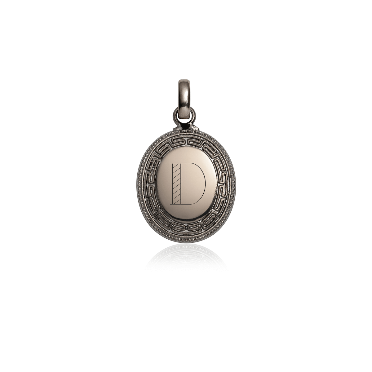 Greek Key Oval Pendant (Gun Silver)