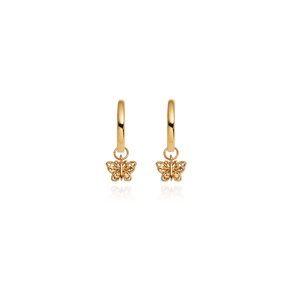 Sterling Silver Mini Butterfly Earrings (Gold)