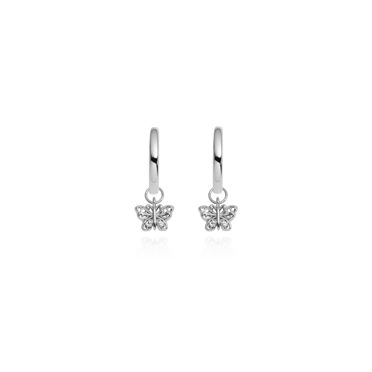 Sterling Silver Mini Butterfly Earrings (Silver)