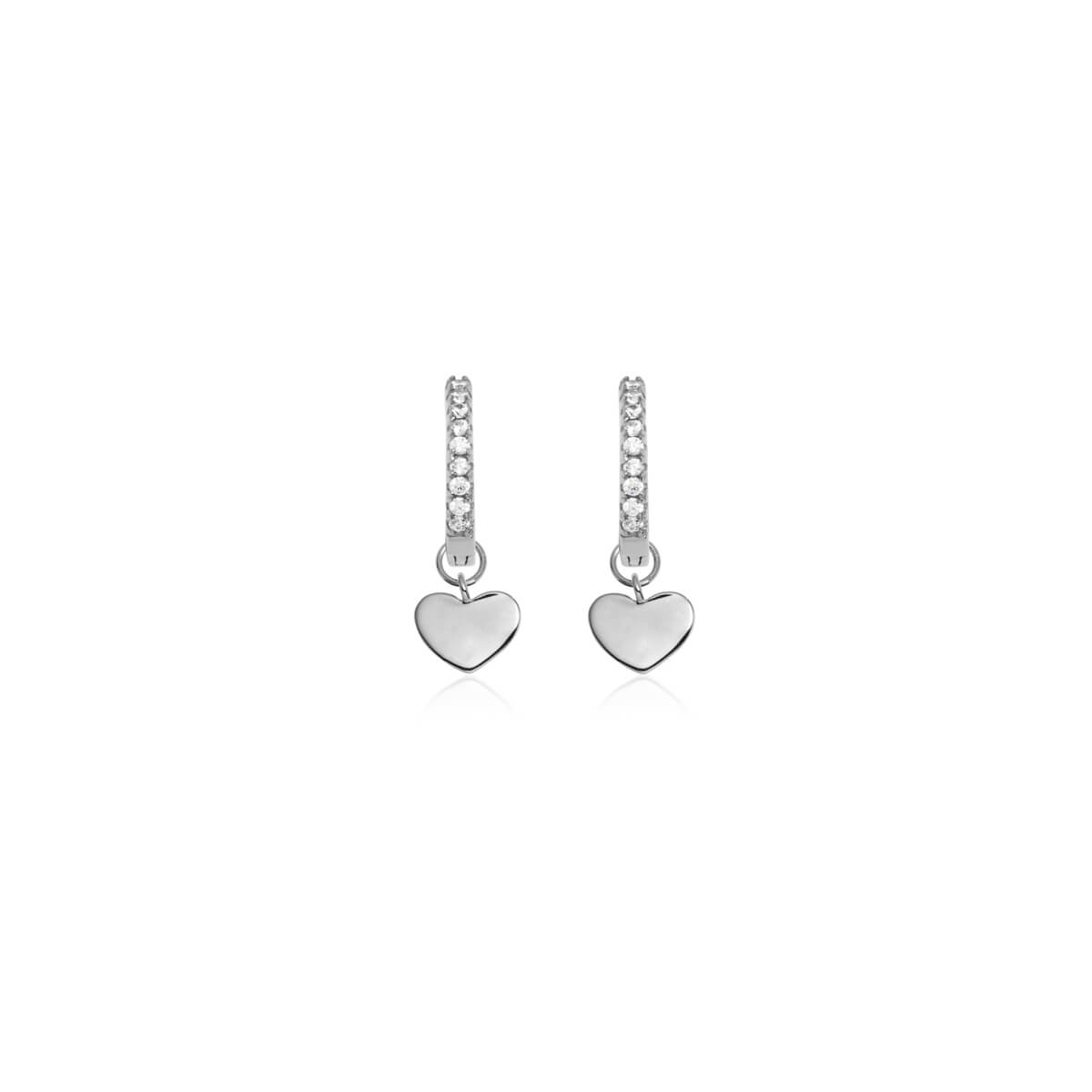 Sterling Silver Mini Heart Crystal Earrings (Silver)