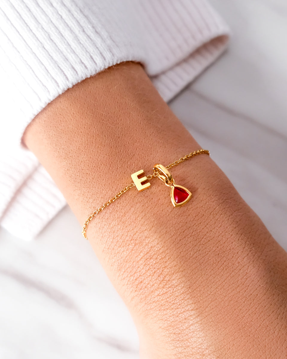 Birthstone & Little Luxe Letter Bracelet (Gold)