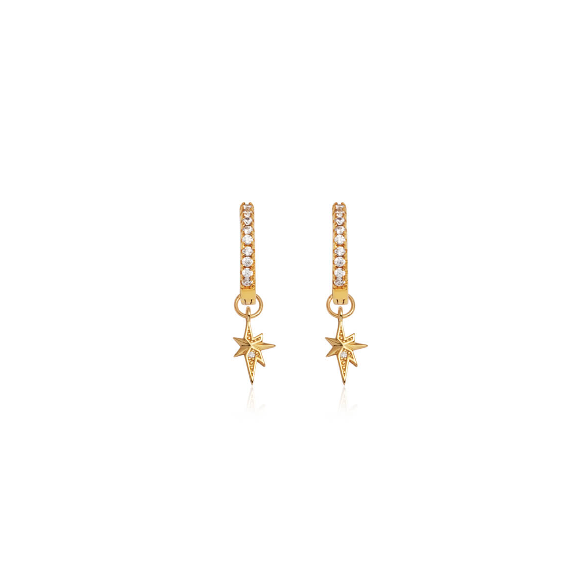 Sterling Silver Mini Starburst Crystal Earrings (Gold)