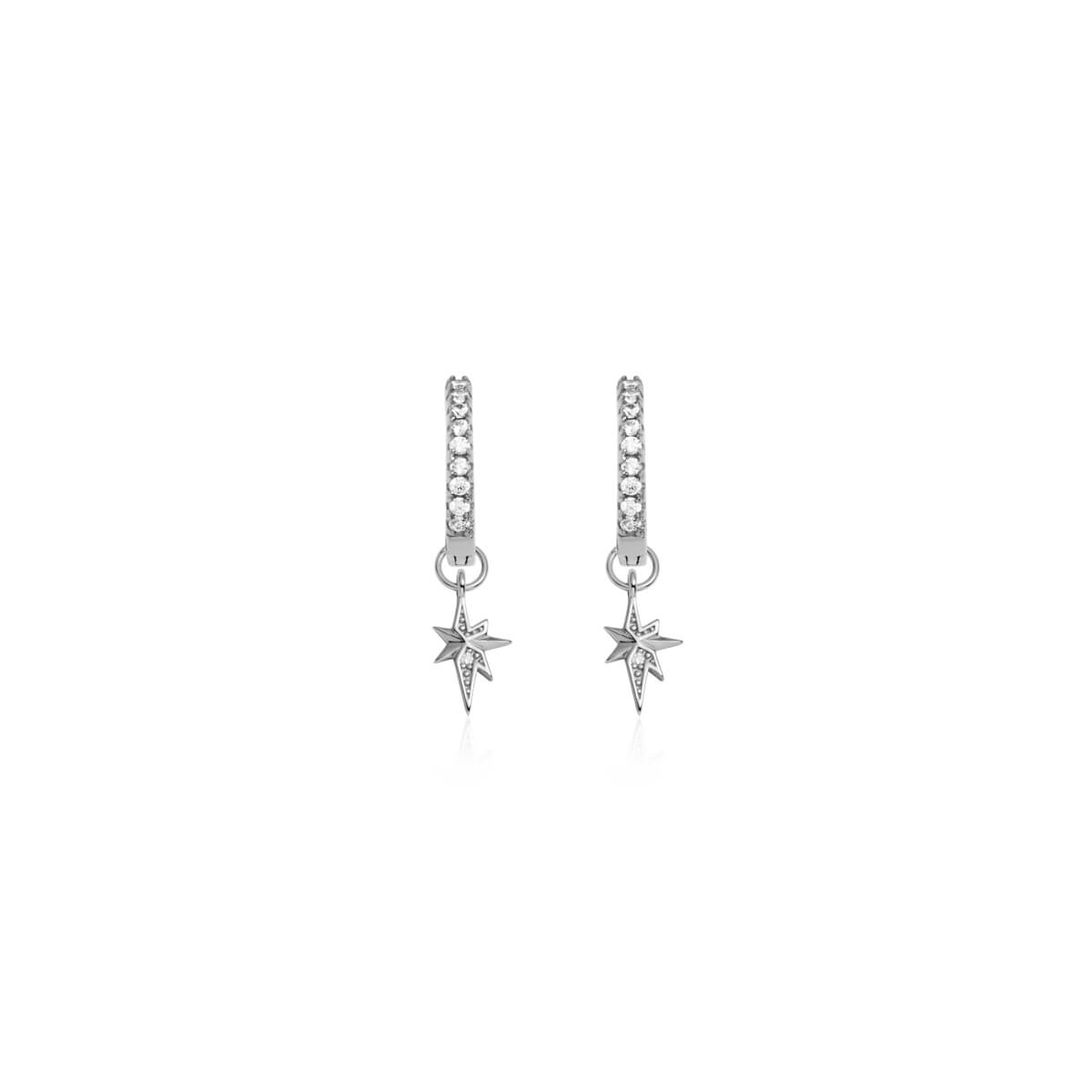 Sterling Silver Mini Starburst Crystal Earrings (Silver)