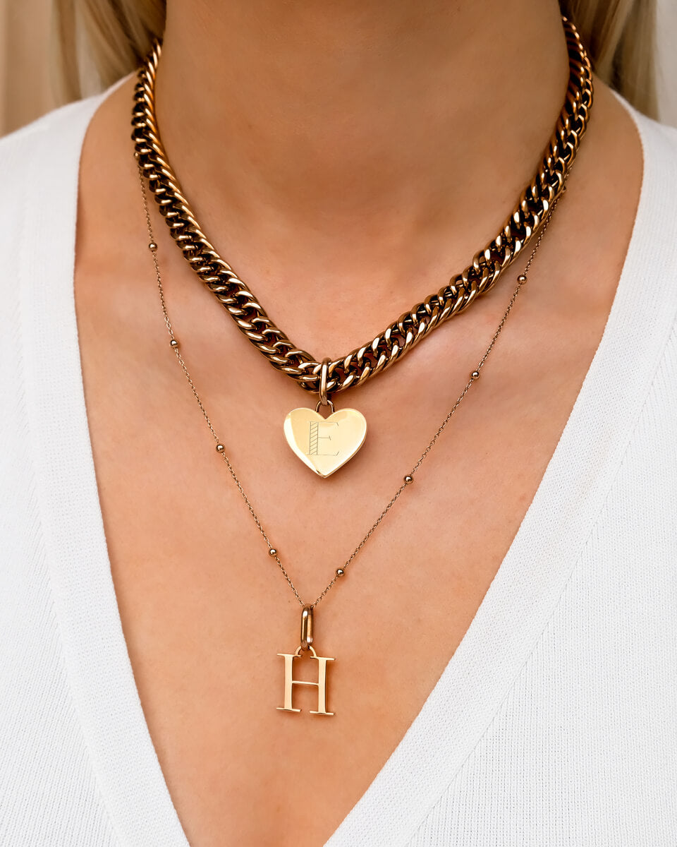 Heart Curb & Letter Layered Set (Rose Gold)