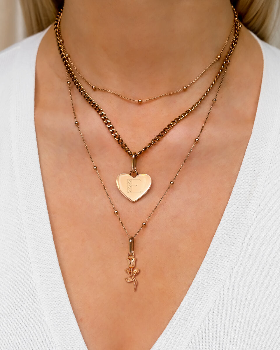 Heart & Rose Multi Chain Layered Set (Rose Gold)