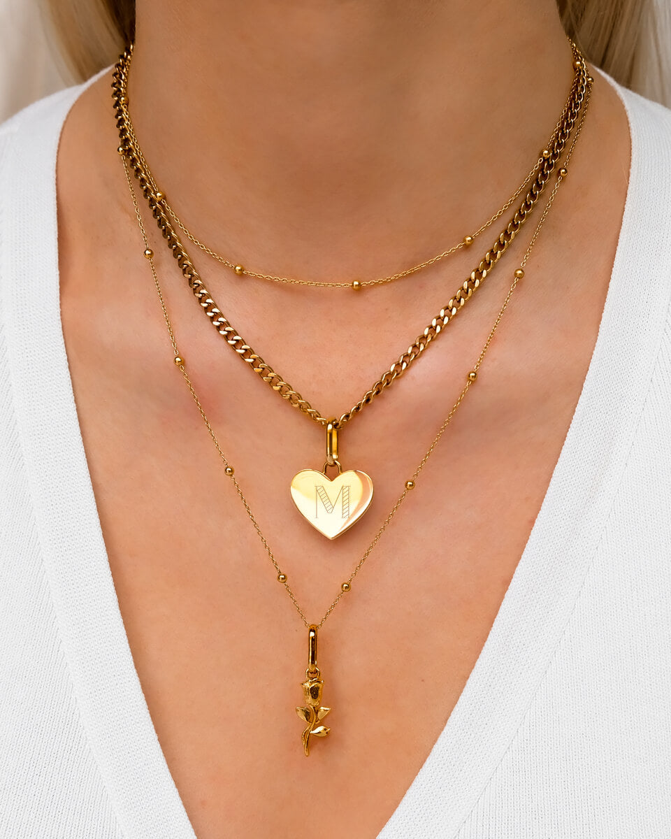 Heart & Rose Multi Chain Layered Set (Gold)