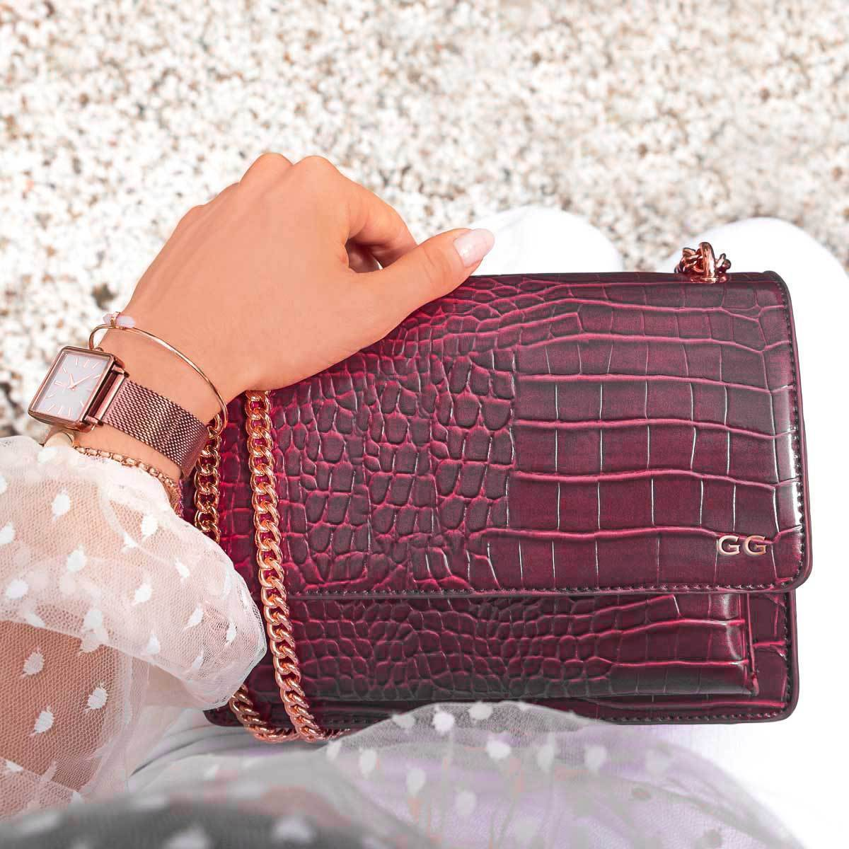 Jasmine Crossbody Bag (Sangria/Rose Gold)