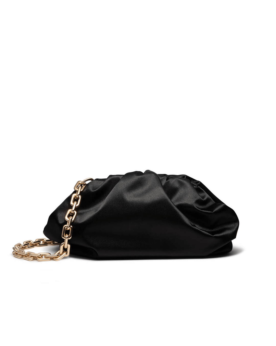 Jet Black Pouch Satin Clutch Bag (Gold)
