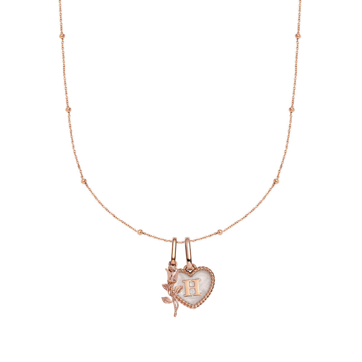 Pearl Heart & Rose Pendant Sphere Chain Necklace 20 in (Rose Gold)