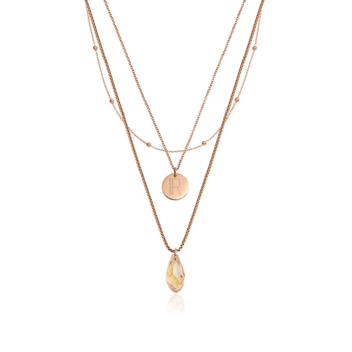 Crystal Little Luxe Necklace Set (Rose Gold)