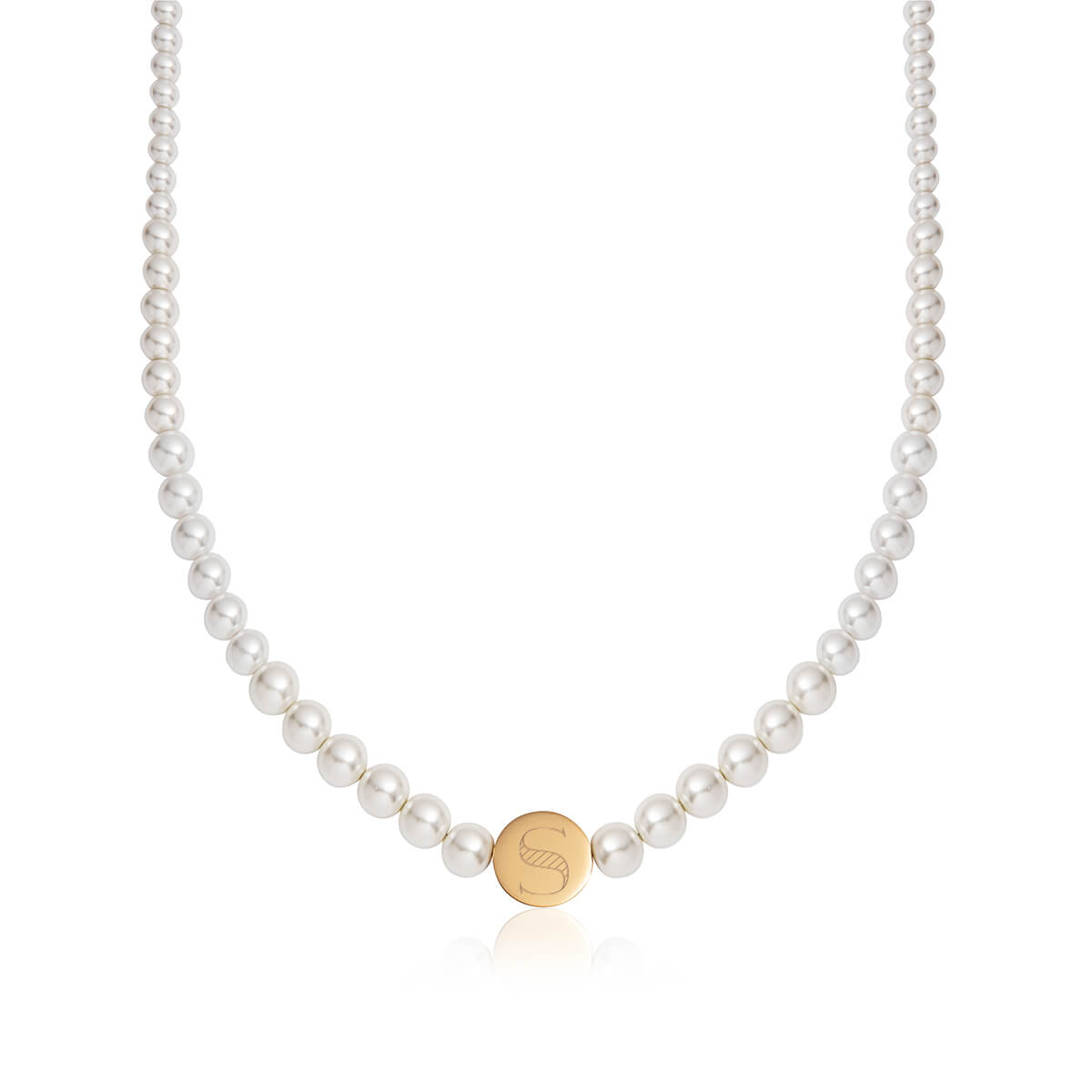 Pearl Circular Chain Necklace (Gold)