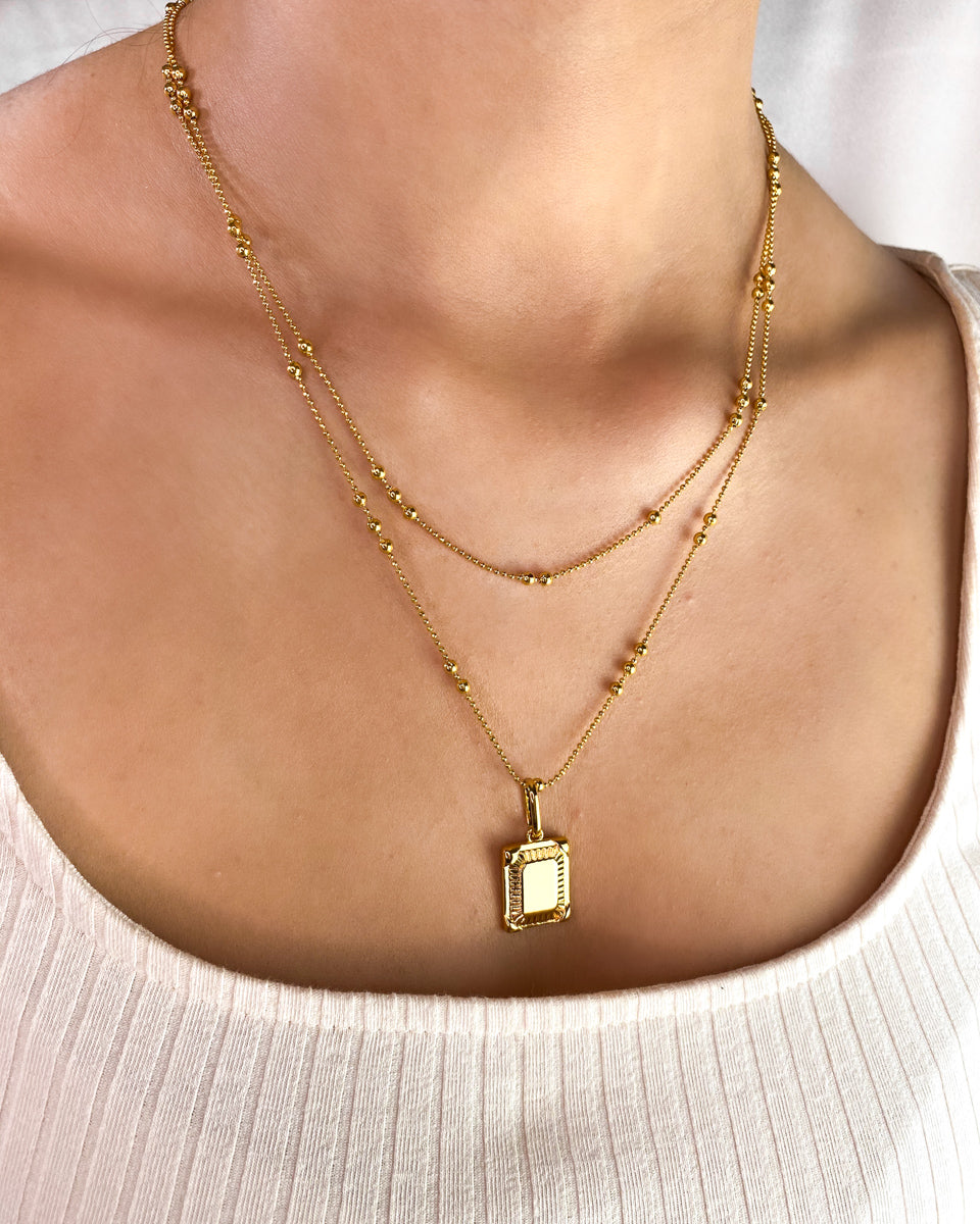 Personalise Double Sphere Chain Necklace (Gold)