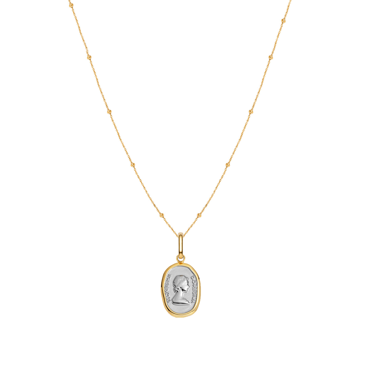 Queen Sphere Chain Necklace 16 in (Gold)
