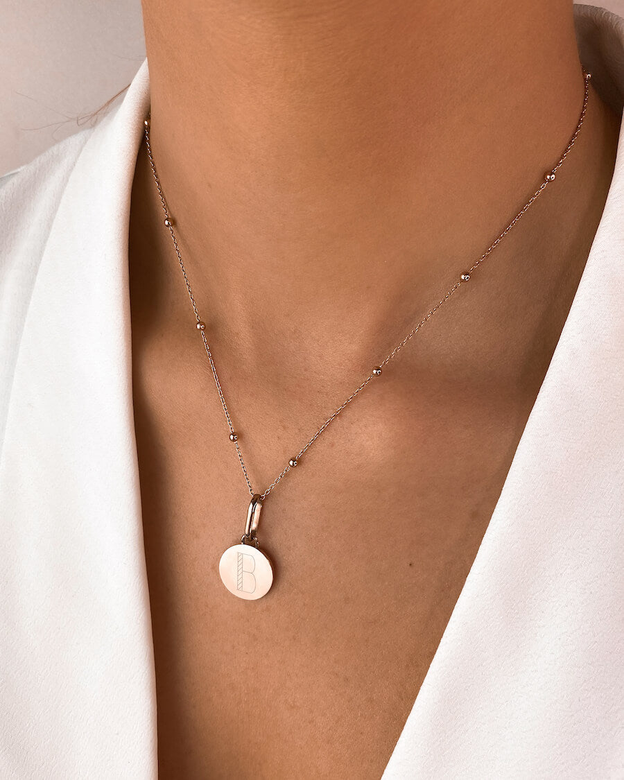 Circular Sphere Chain Necklace 16 in (Rose Gold)