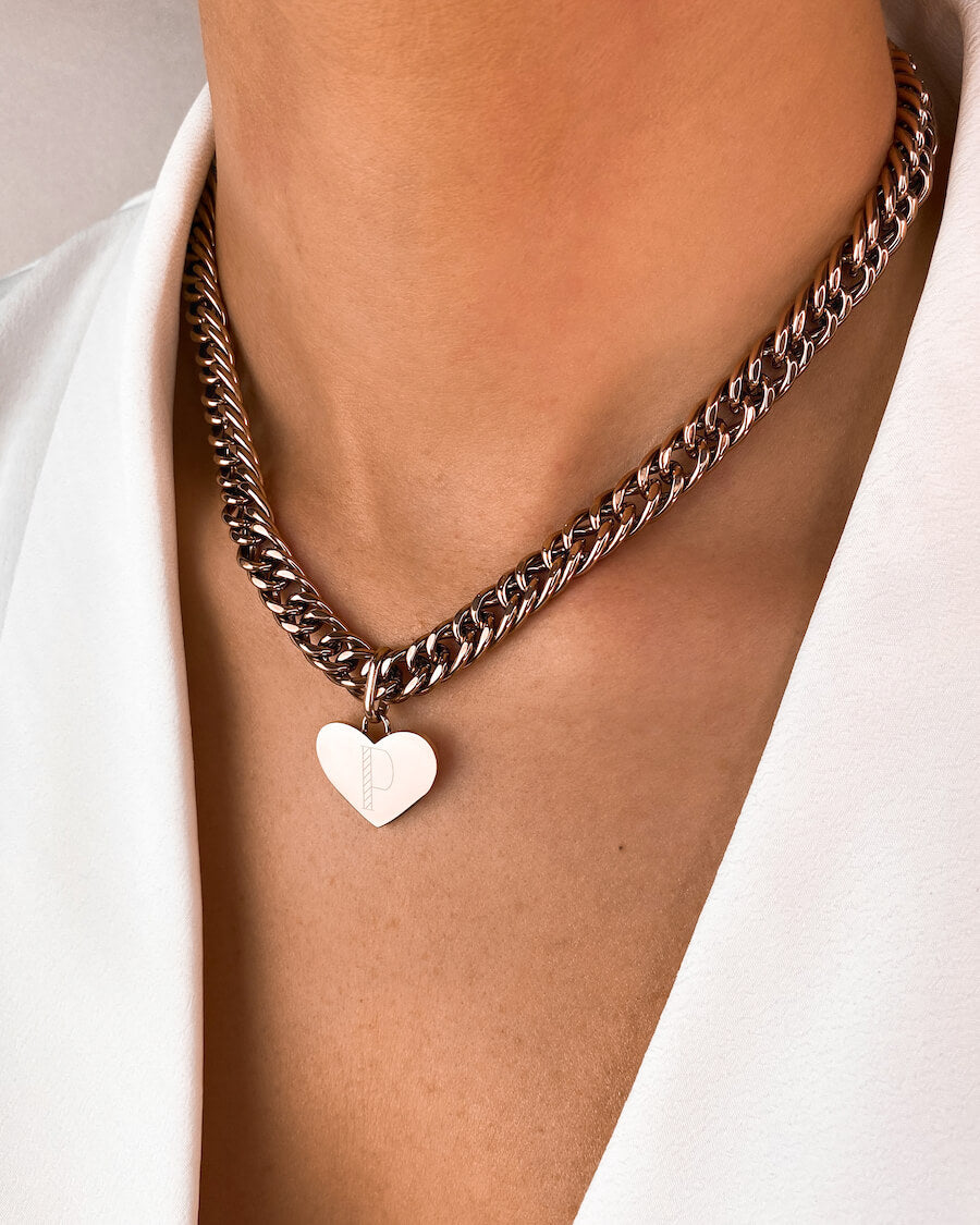 Heart Curb Chain Necklace 16 in (Rose Gold)