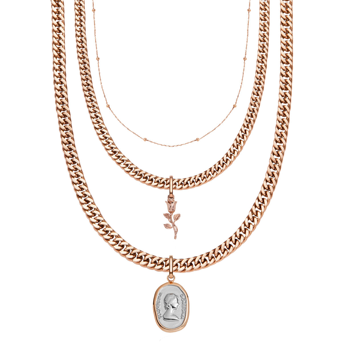 Curb Chain & Rose Pendant Layered Set (Rose Gold)
