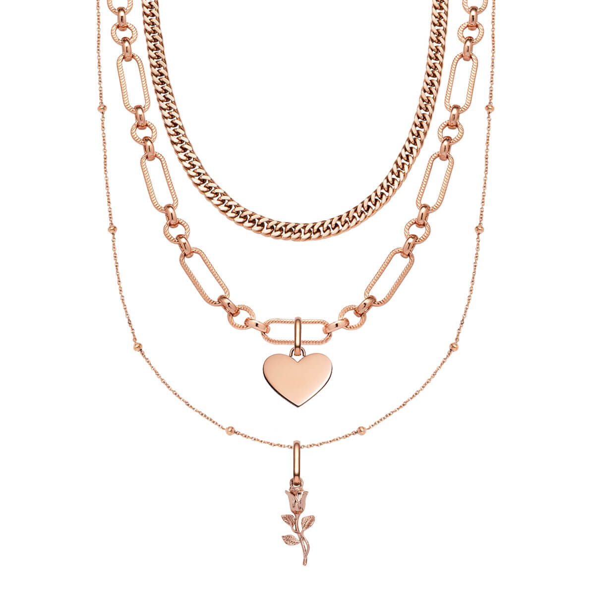 Sphere Chain & Rose Pendant Love Gift Set (Rose Gold)