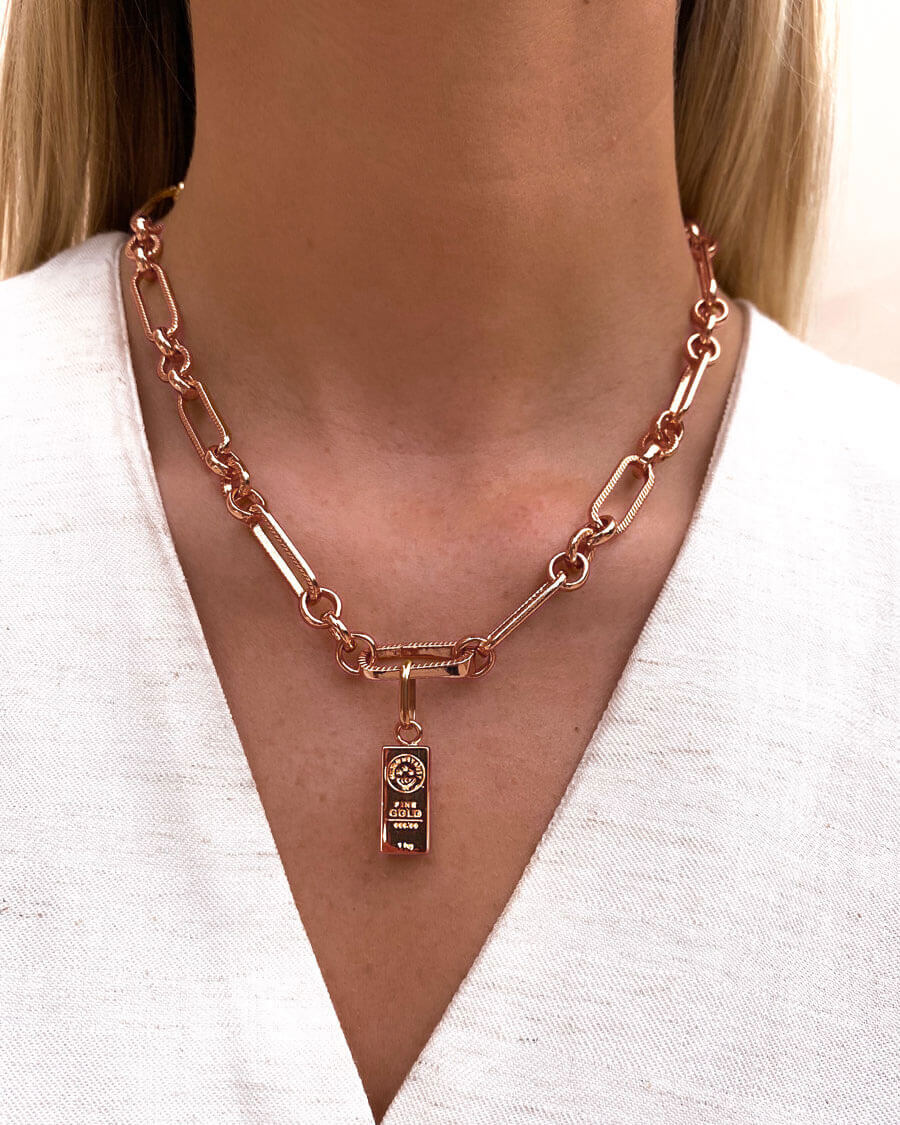Gold Bar Figaro Chain Necklace (Rose Gold)