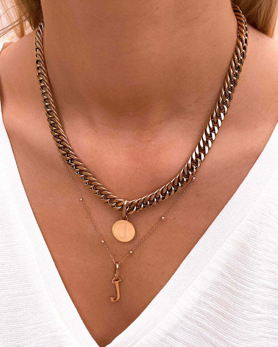 Circular Curb Chain Necklace (Rose Gold)