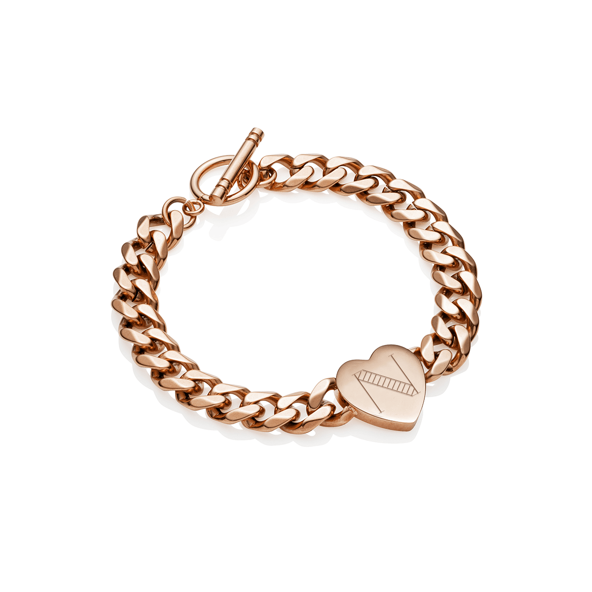 Heart Curb Chain Personalise Bracelet (Rose Gold)