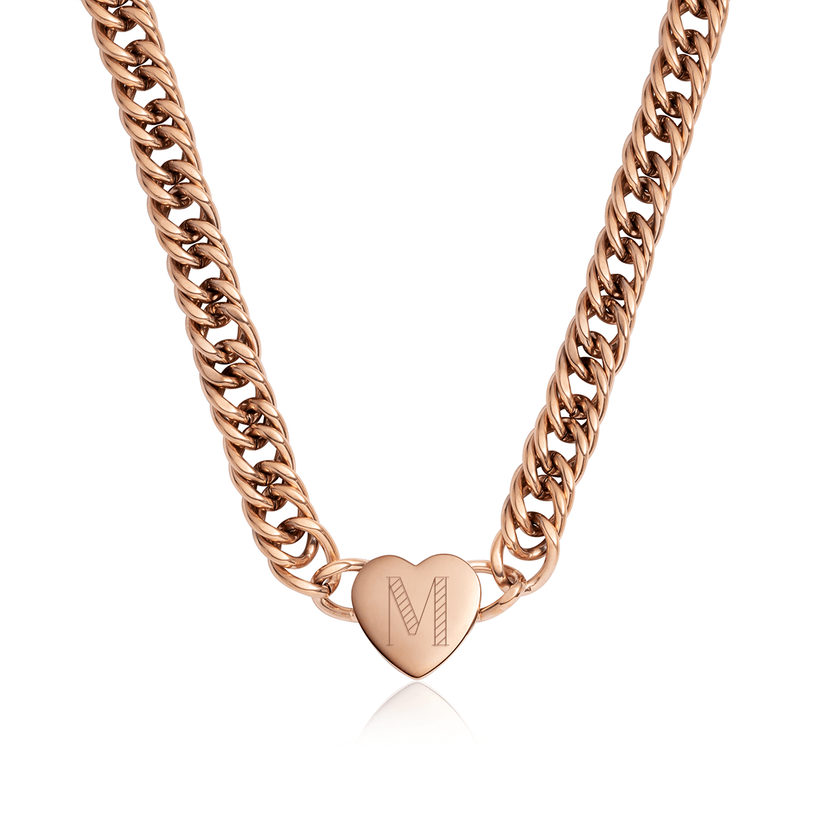Heart Curb Chain Personalise Necklace (Rose Gold)