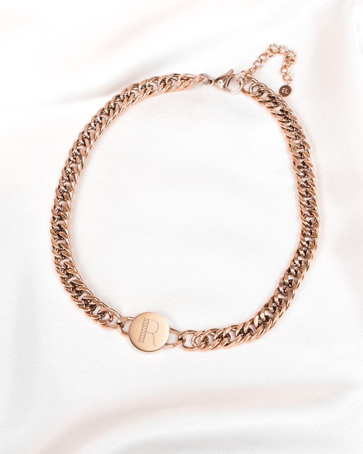 Circular Curb Chain Personalise Necklace (Rose Gold)