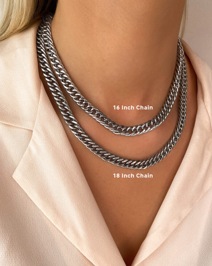 Curb Chain Necklace 16 in (Silver)