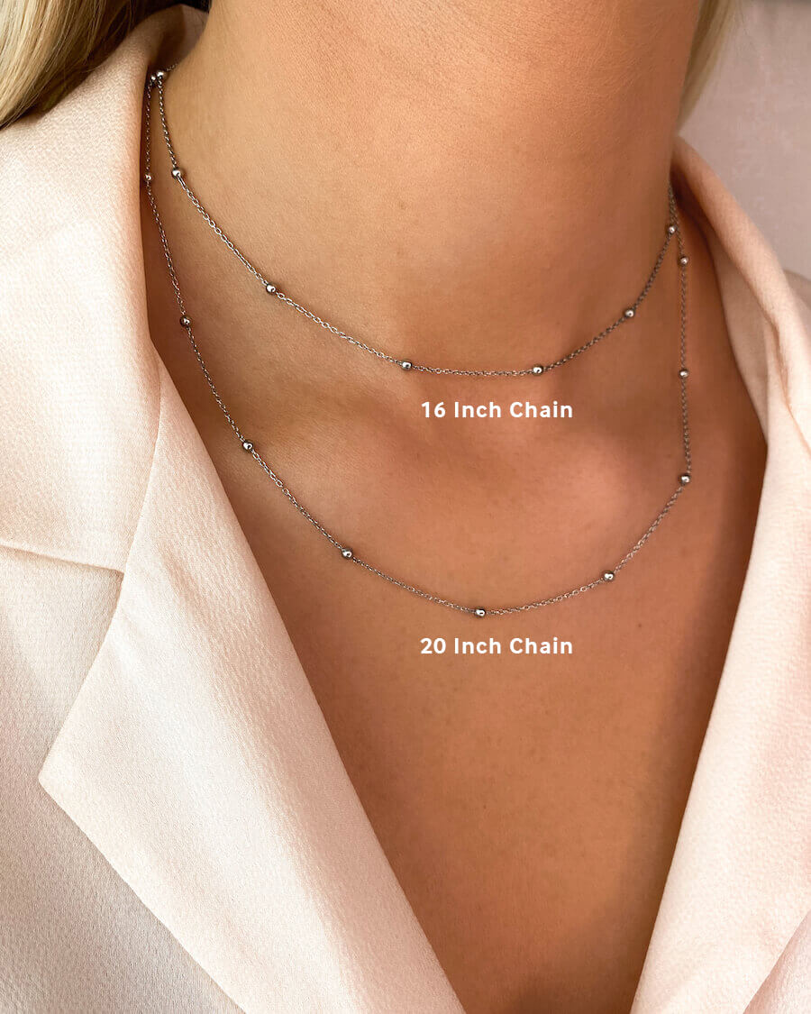 Sphere Chain Necklace 16 in (Silver)