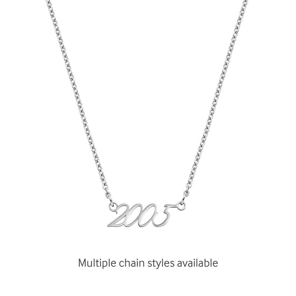 Script Date Necklace (Silver)