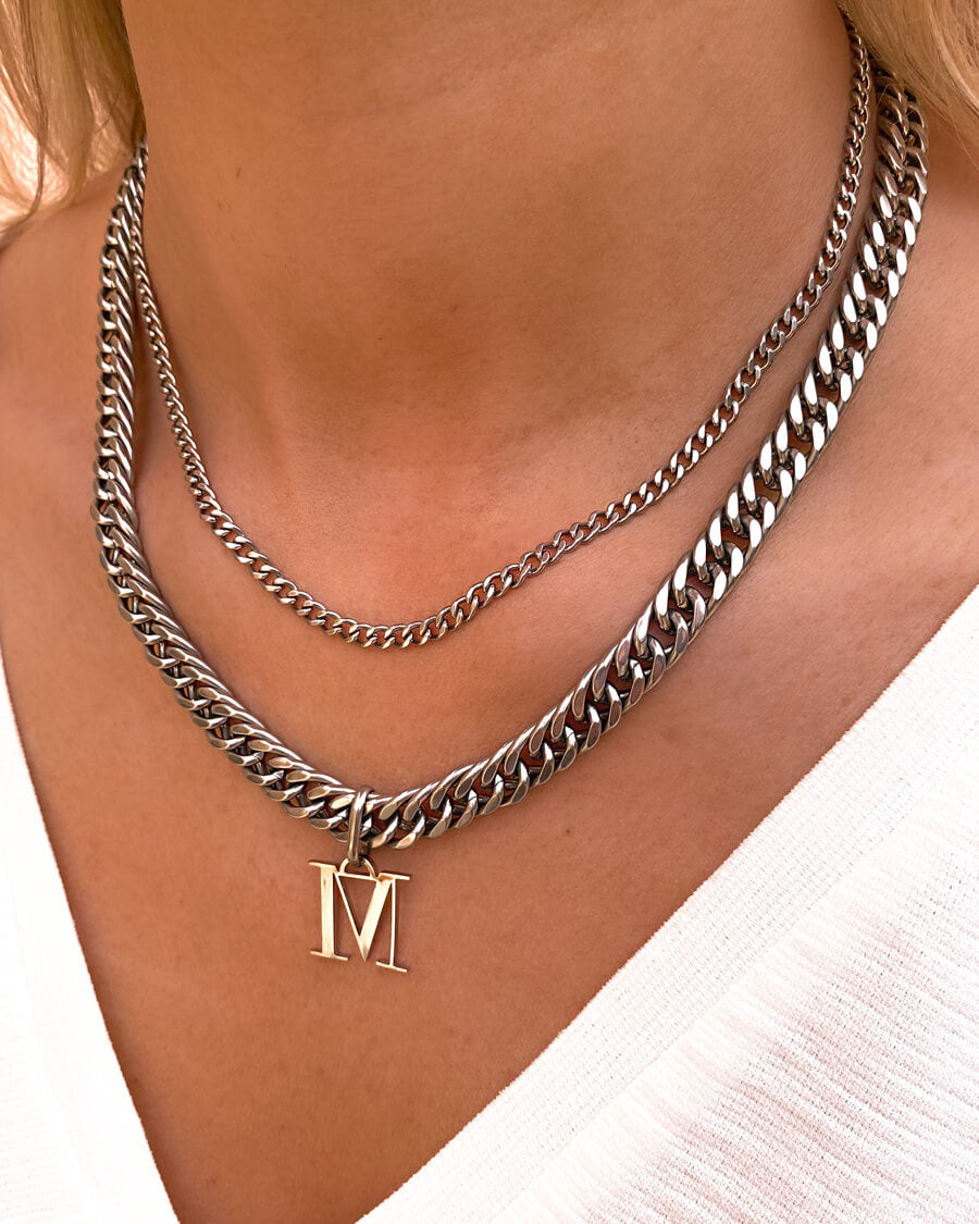 Letter Curb Chain Necklace (Silver)