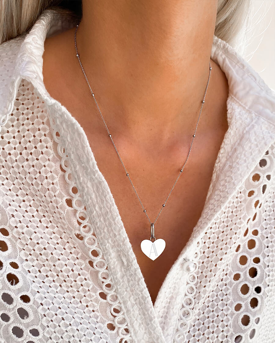 Heart Sphere Chain Necklace 20 in (Silver)