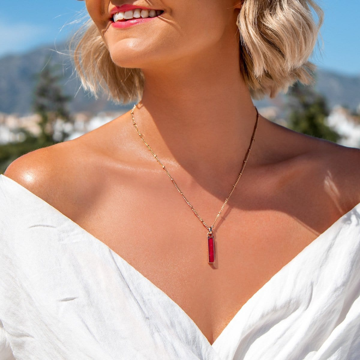 Small Lineare Bijou Charm Necklace (Pink Quartz/Rose Gold)