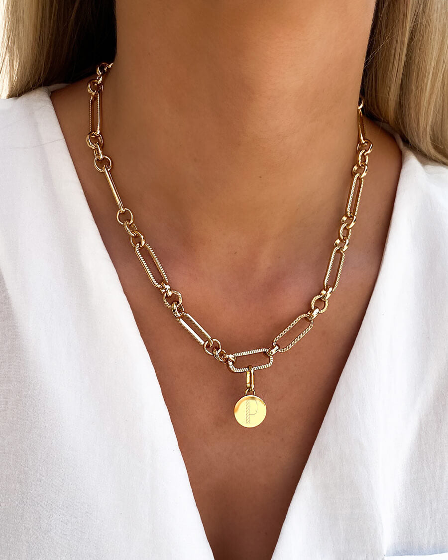 Circular Figaro Chain Necklace (Gold)