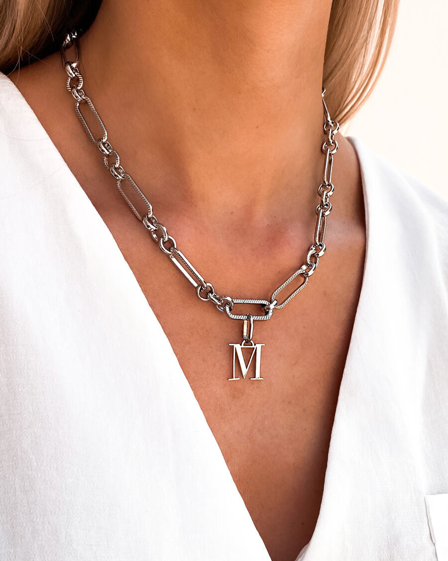 Letter Figaro Chain Necklace (Silver)