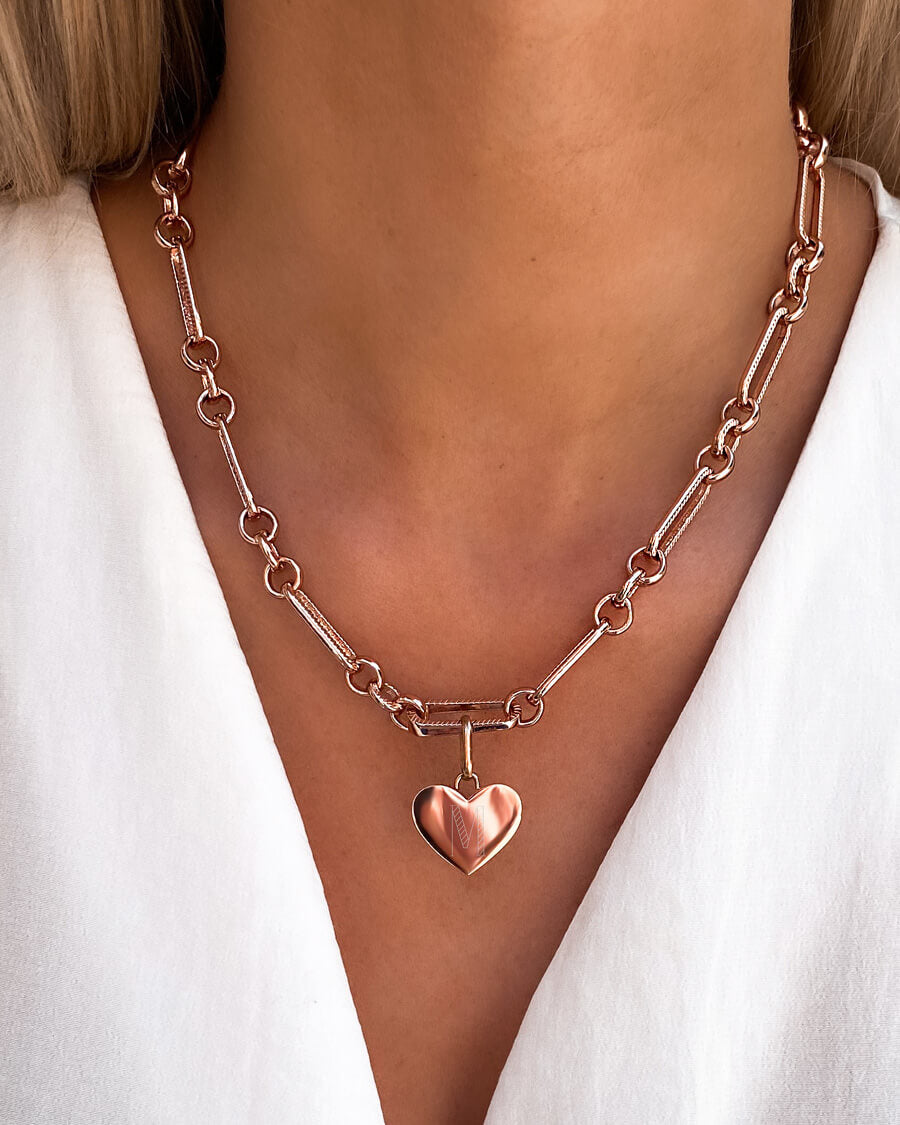 Heart Figaro Chain Necklace (Rose Gold)