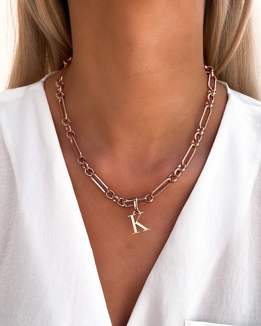Letter Figaro Chain Necklace (Rose Gold)