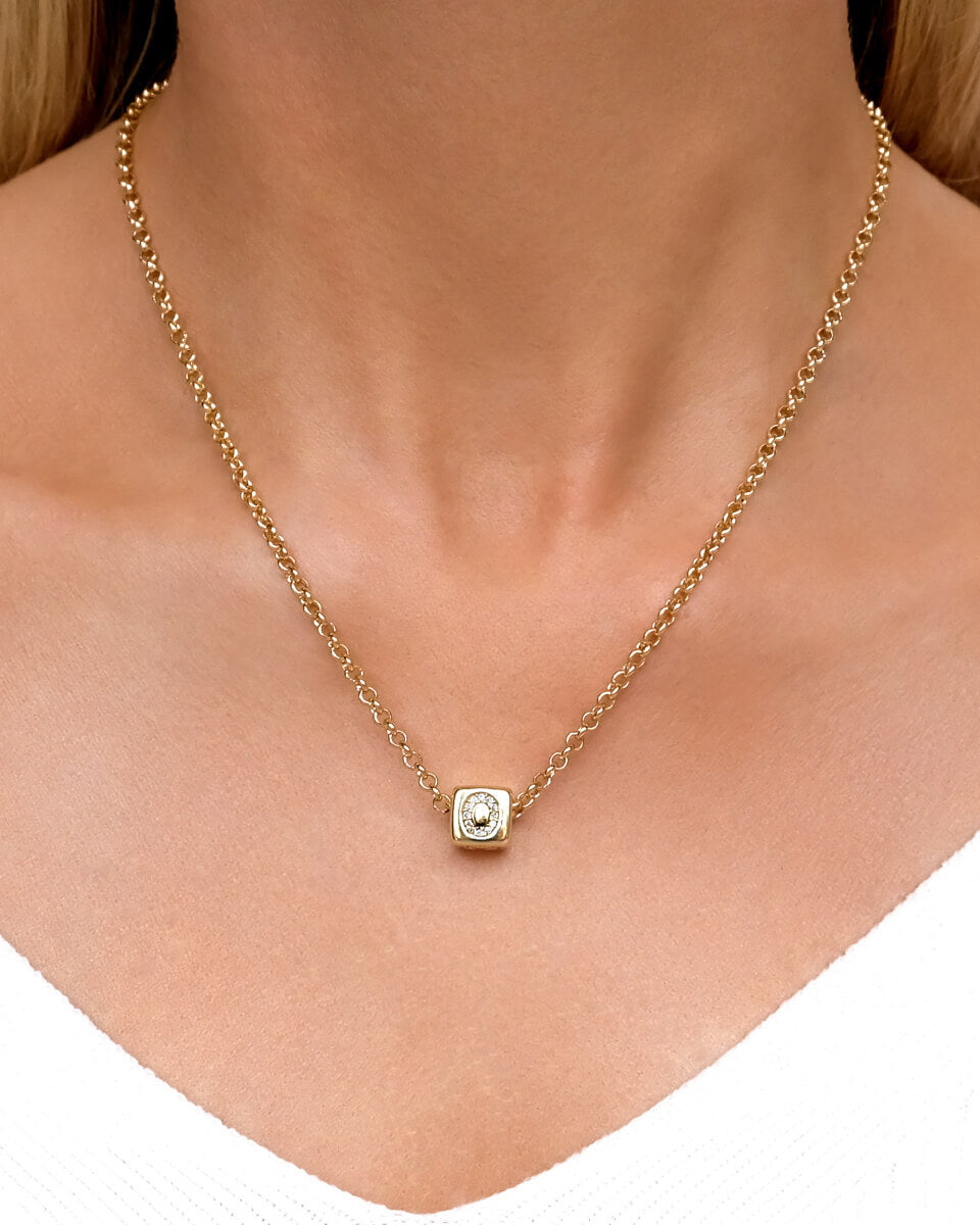 Crystal Cube Letter Necklace (Gold)