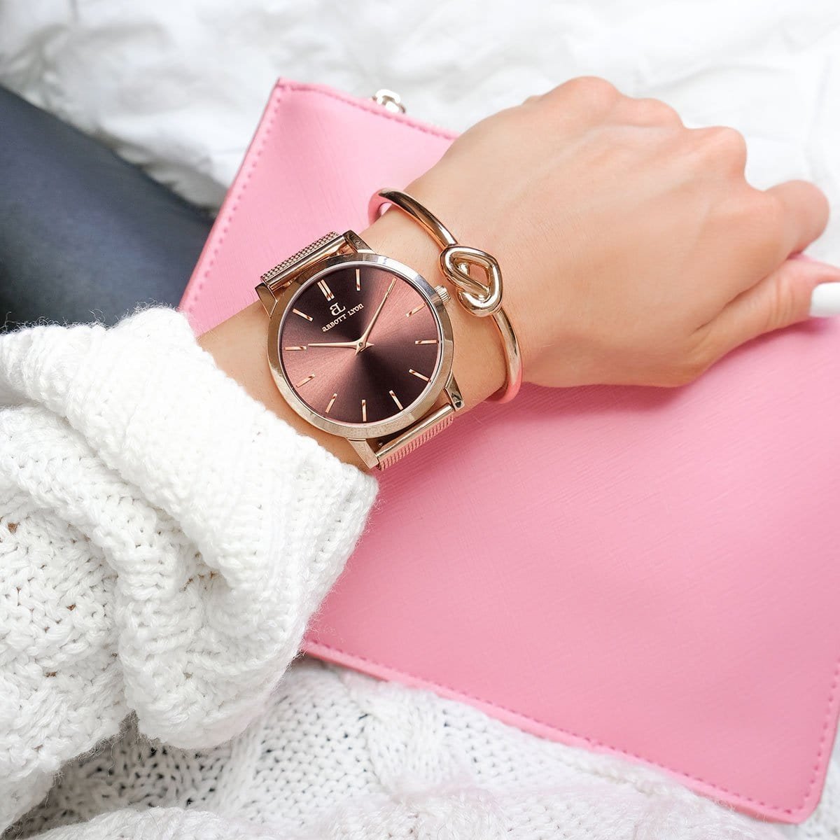 The Rose Gold Chain Luxe Heart Knot Bangle Gift Set (Rose/Rose)