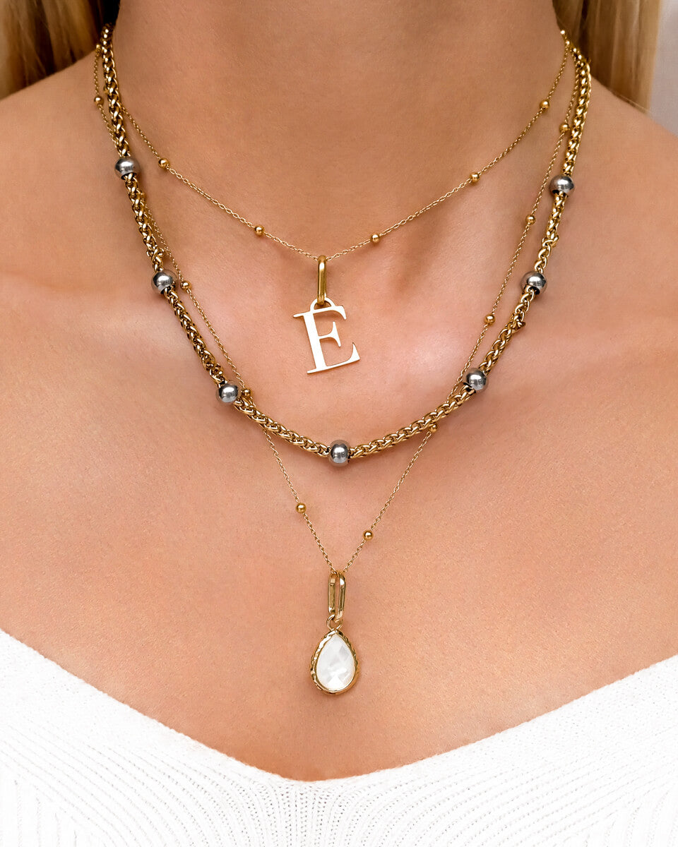 Letter & Pearl Stone Layered Set (Gold)