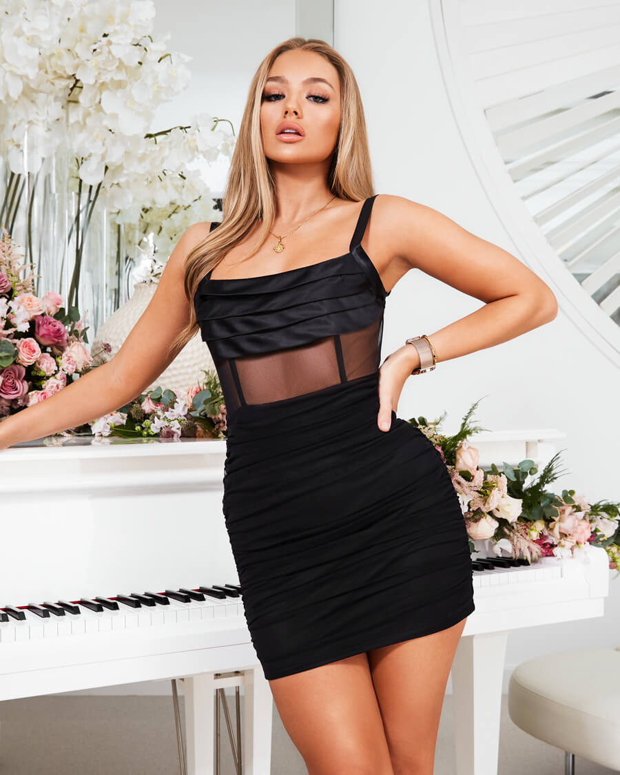 Coming soon: Ava Black Mesh Mini Dress