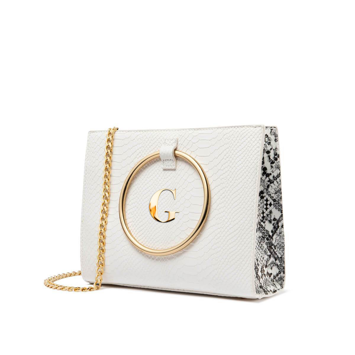 White Snake Moda Handbag Gold