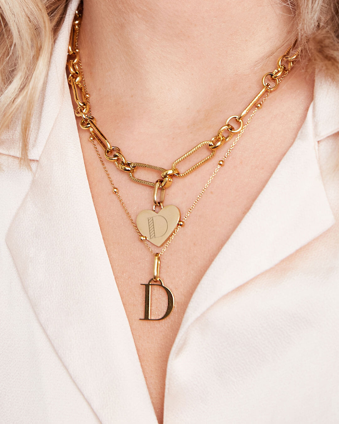 Heart Figaro & Letter Sphere Chain Layered Set (Gold)