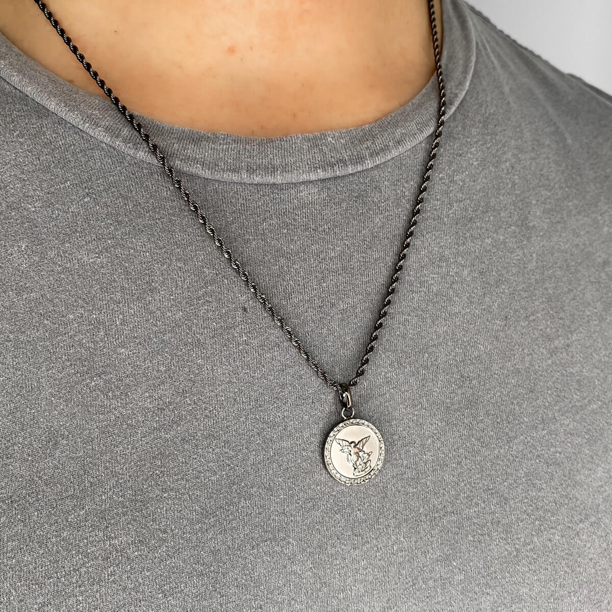 Selected Rope Chain Necklace 20 in (Gun Silver)